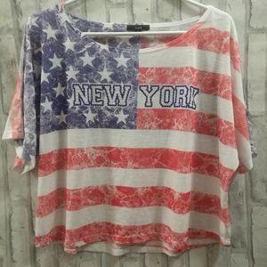New York Short Sleeve Crop Top